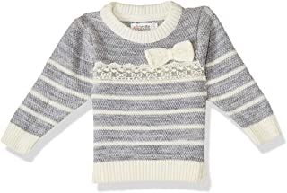Giggles Two Tone Front Stitched Ribbon Ribbed Trims Pullover for Girls