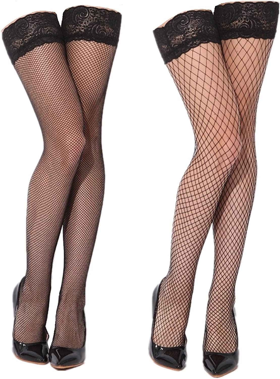 Womens Black Sheer Thigh High Fishnet Stockings with Silicone Lace Top 2 Pairs