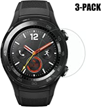 for Huawei Watch 2 / Huawei Watch 2 Classic Screen Protector (3-Pack), Full Screen Coverage and 9H Anti-Scratch Tempered Glass Screen Protector for Huawei Watch 2