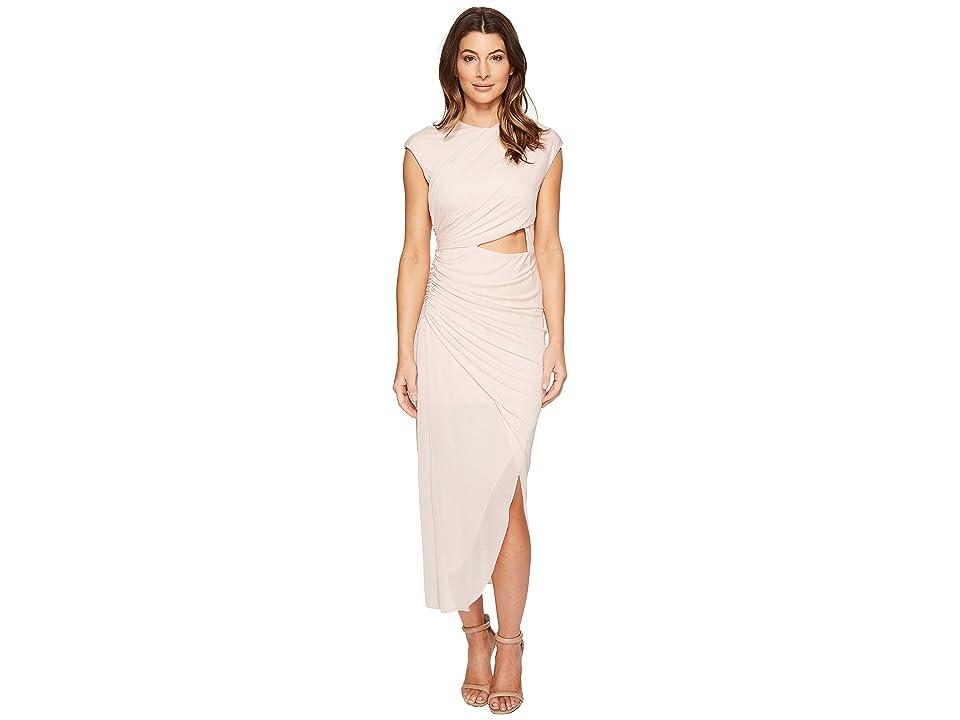 Halston Heritage Short Sleeve Round Neck Draped Jersey Dress w/ Cut Out (Primrose) Women