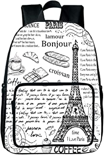 Strong Durability Square Front Bag Backpack,Paris Decor,Traditional Famous Parisian Elements Bonjour Croissan Coffee Eiffel Tower Illustration,Black White,for Children,Personalized Design.15.7