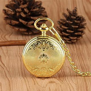 FGDSA Reloj de Bolsillo Reloj de Bolsillo mecánico Dorado Diseño Exquisito Reloj Colgante de Viento Manual Cadena de Bolsi...