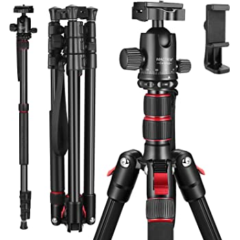 "MACTREM 80"" Camera Tripod, DSLR Tripod for Travel, Lightweight Aluminum 360 Degree Ball Head Professional Tripod, Monopod with Carry Bag, Phone Mount, 18.5"" to 80"", 33lb Load(Black)"