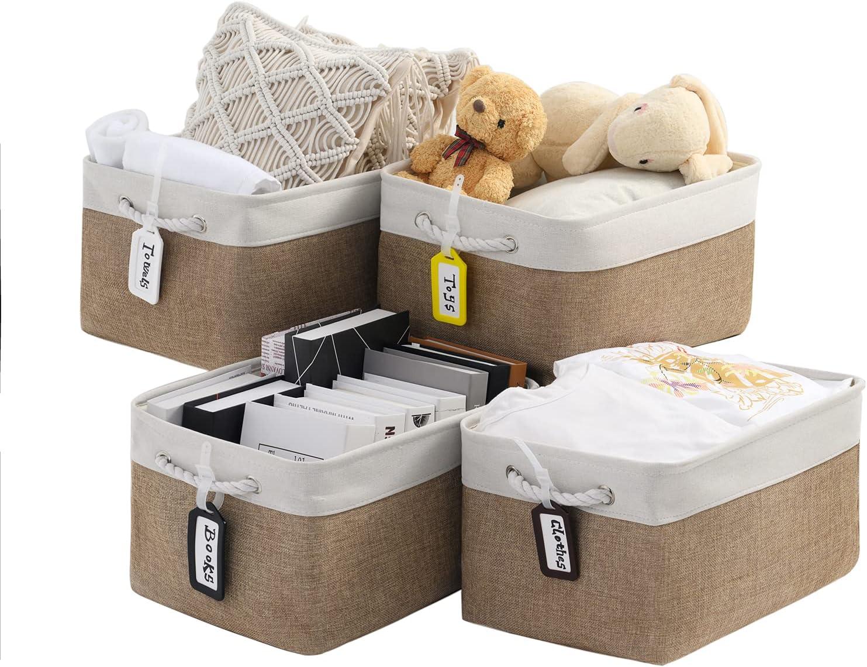 Damtoe Large San Diego Mall Storage Basket 4-Pack quality assurance Fab Rectangular Khaki White