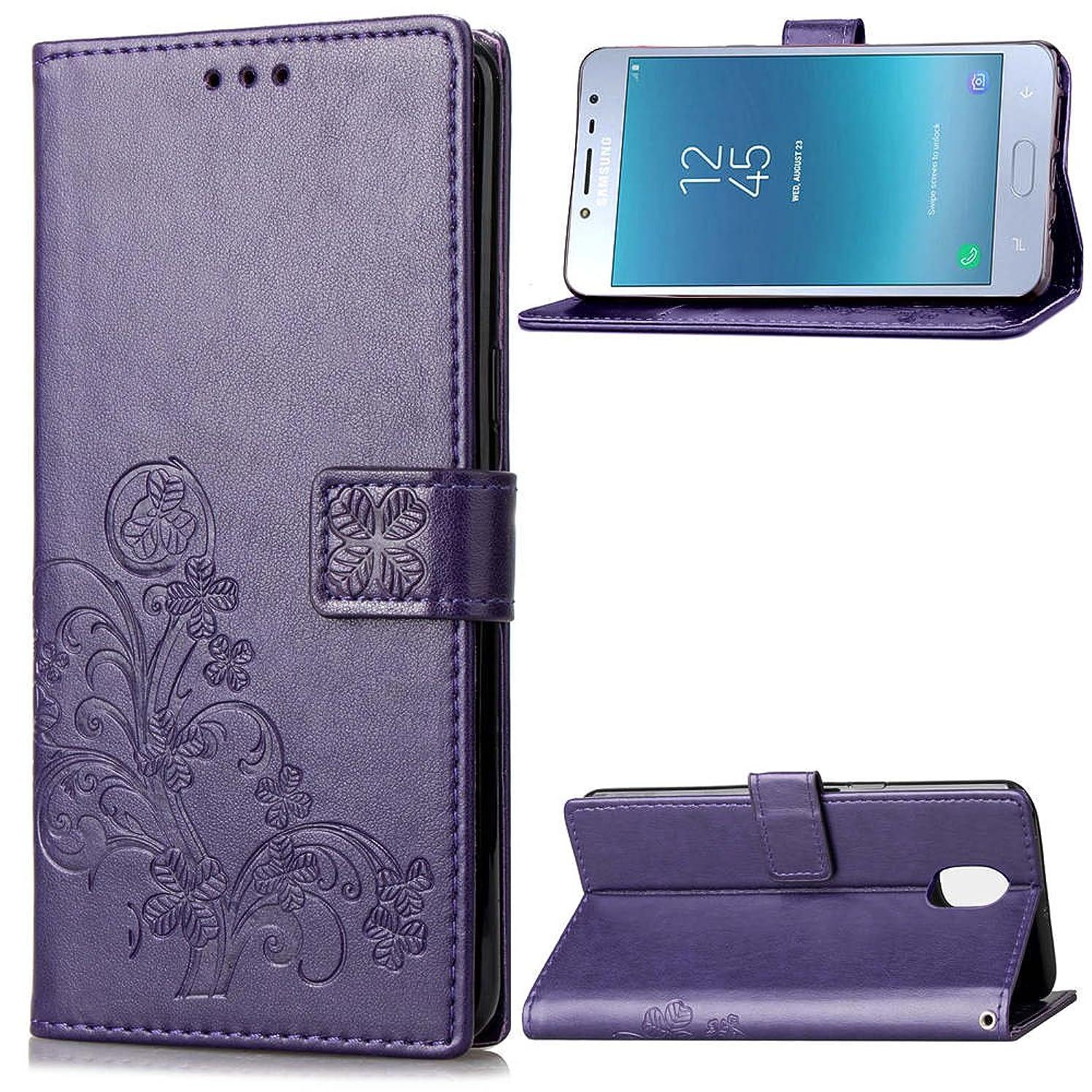 Galaxy J7 V 2nd Gen Case, J7 Wallet Flip Case Kickstand Card Slots 3D Embossed Clover Flowers PU Leather Wallet Case Shockproof Soft TPU Inner Bumper Slim Protective Cover for Samsung Galaxy J7 2018