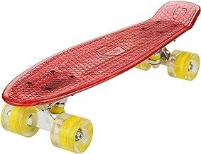 Anfan Mini Cruiser Skateboard LED Skate Board Flicker Complete Skateboard with Data Line Classic 70's Retro Style Plastic Skate Board For Teens Kids Age 4 Up (UK STOCK)