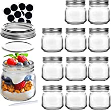 LEQEE Mason Jars 8 oz with Regular Lids and Bands 12 PACK, Canning Jars Ideal for Jelly, Jam, Honey, Wedding Favors, Showe...