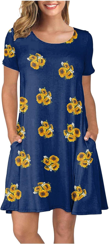 Flowers Print Dress for Women Boho Tshirt Cheap SALE Start Sleeve Short 25% OFF Dresses