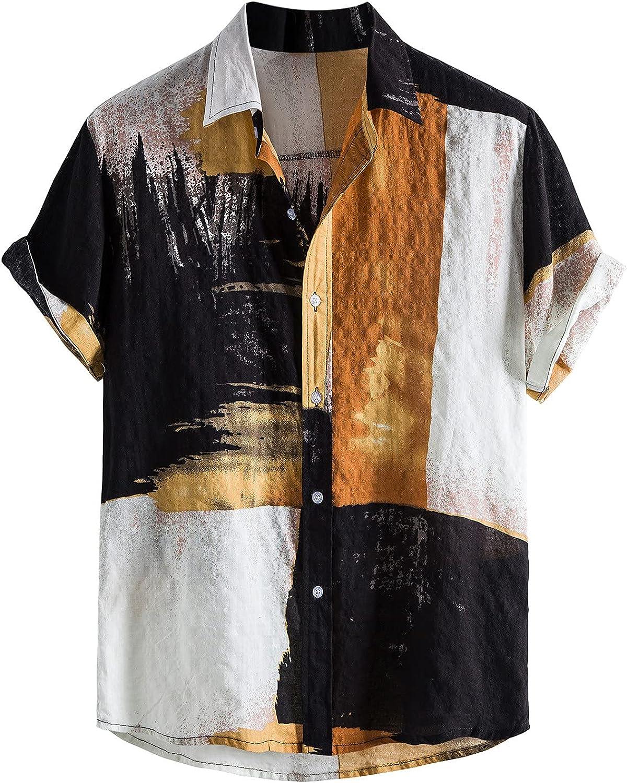 Men Casual Hawaiian Short Sleeve Beach Shirt Novelty Color Block Button Down Shirts