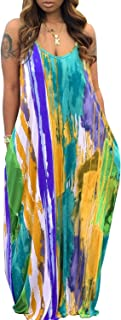 Women's Cami Maxi Dresses Summer Casual Loose Dress Plus Size Tie Dye Floral Long Beach Dress with Pockets