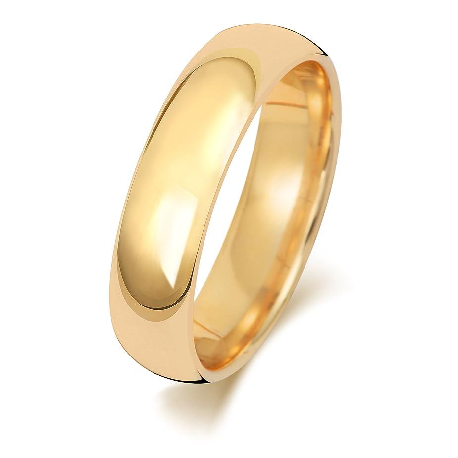 階下質量歩き回る18K 18金イエローゴールド 5mm 男性 女性 ウェディングバンド マリッジリング(結婚指輪) WQS1888218KY