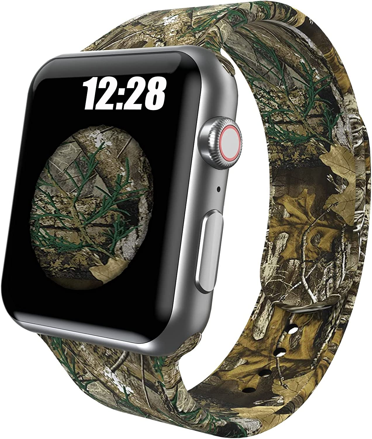 OTTARTAKS Sport Band Compatible with Apple Watch Bands 42mm 44mm Men Boys, Silicone Realtree Camo Xtra Apple Watch Band for iWatch Series 6 5 SE 4 3 2 1