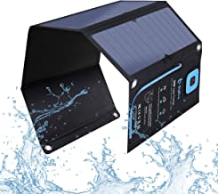 BigBlue 5V 28W Solar Charger with Digital Ammeter, Waterproof Foldable Solar Panels with Dual USB Ports Compatible with iPhone Xs/XS Max/XR/X/8/7S, iPad Pro/Air 2, Galaxy S8/S7/S6/Edge, LG, Nexus etc.