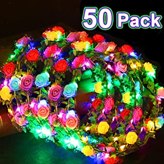 50 Pack LED Headband Flower Crowns Party Favors, Flashing Floral Wreath Christmas Light Up School Party Supplies Adjustable Flower Headdress Accessories for Girls Women Birthday Wedding Holiday