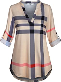 Womens 3/4 Roll Sleeve Shirt Notch Neck Loose Tops Plaid Tunic Blouse