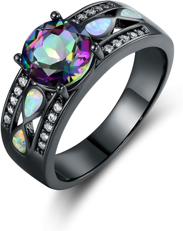 Barzel Black Rhodium Plated Created Topaz & Created Opal Engagement Ring