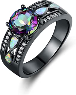 Black Rhodium Plated Created Topaz & Created Opal Engagement Ring
