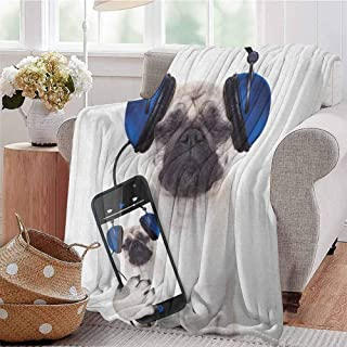 Pug Bedding Microfiber Blanket Dog Listening Music on The Smartphone Groovy Cool Headphones Animal Funny Image Super Soft and Comfortable Luxury Bed Blanket W54 x L72 Inch Navy Blue Black