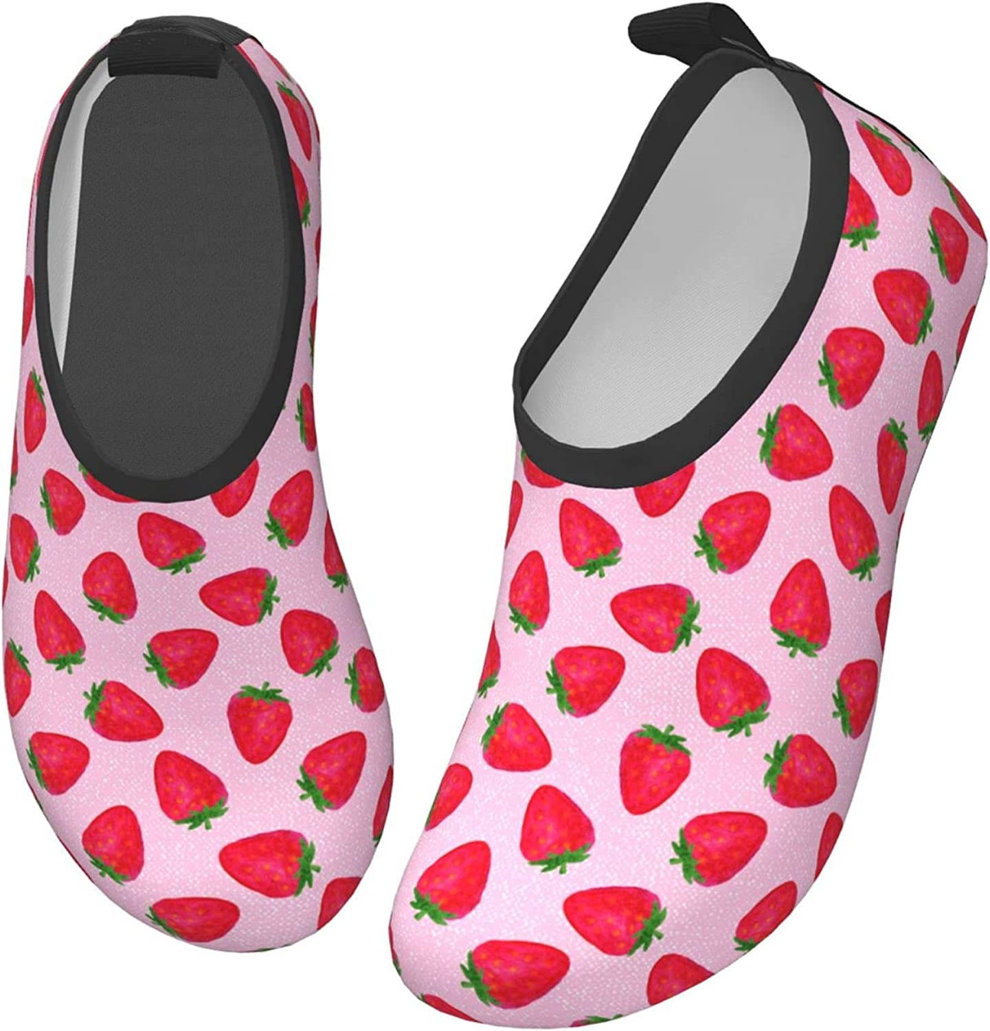 Jedenkuku Cute Pink Strawberry Fruit Children's Water Shoes Feel Barefoot for Swimming Beach Boating Surfing Yoga