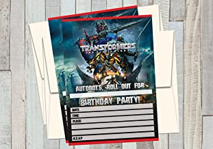 12 TRANSFORMERS - THE LAST KNIGHT - Birthday Invitations (12 5x7in Cards, 12 matching white envelopes)