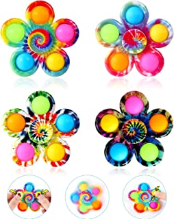 GOHEYI Popper it Fidget Spinner Toys 4 Pack، Simple Dimple Fidget Toy، Pops-It Fidget Pack-Push Pop Bubble Sensory Toys Set for Kids، Fidget Pack ADHD Stress Relief Fidget Pack with Pop Hand Spinners