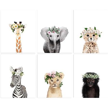 "Safari Baby Animal Floral Crown Prints 8""x10"" (UNFRAMED) Nursery Decor , SET of 6"