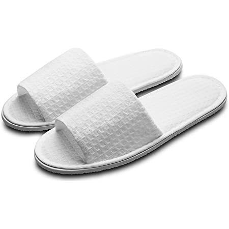 Echoapple 10 Pairs of Waffle Open Toe White Spa Slippers-Two Size Fit Most Men and Women for Spa, Party Guest, Hotel and Travel