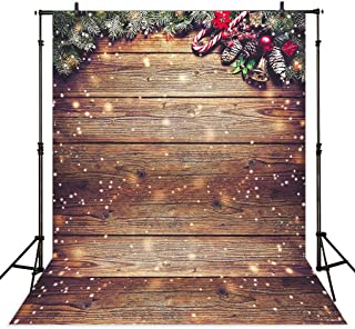 Dudaacvt 5X7ft Snowflake Gold Glitter Christmas Wood Wall Photography Backdrop Xmas Rustic Barn Vintage Wooden Floor Background for Kids Portrait Photo Studio Booth Photobooth Photographer Props D229