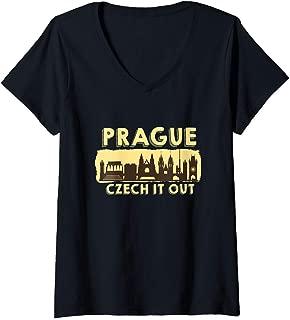 Womens Prague Shirt Czech It Out Czech Republic Gift Souvenir  V-Neck T-Shirt
