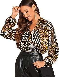 Women's Collar V Neck Long Sleeve Loose Casual Chiffon Print Blouse Tops