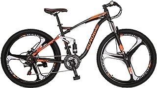 """Eurobike OBK E7 Full Suspension Mountain Bike 21 Speed Bicycle 27.5"""" Mens Bikes Disc Brakes MTB"""