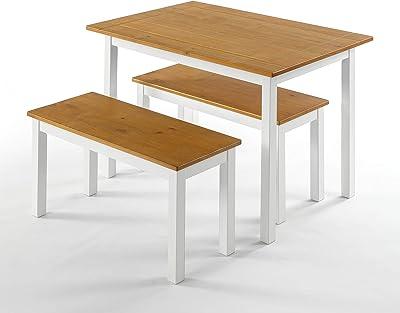 Table à manger en bois avec deux bancs 114 cm ZINUS Becky | Ensemble de 3 éléments en bois massif de style rustique | Facile à monter