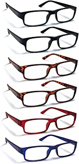 6 Pack Reading Glasses by BOOST EYEWEAR, Traditional Frames in Black, Tortoise Shell, Blue and Red, for Men and Women, with Comfort Spring Loaded Hinges, Assorted Colors, 6 Pairs