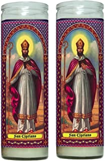San Cipriano Mago Pagano convertido en Santo Set de 2 Veladoras con Oracion