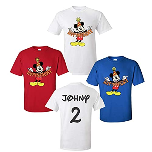 Happy Birthday Mickey Mouse Disney T Shirts Front Back Add Name Age