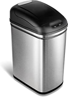 NINESTARS DZT-30-1 Automatic Touchless Infrared Motion Sensor Trash Can, 8 Gal 30L, Stainless Steel Base (Rectangular, Black Lid)