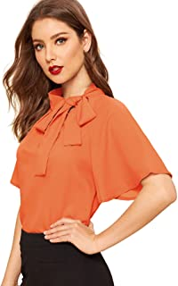 df61a7fab594d8 SheIn Women's Casual Side Bow Tie Neck Short Sleeve Blouse Shirt Top