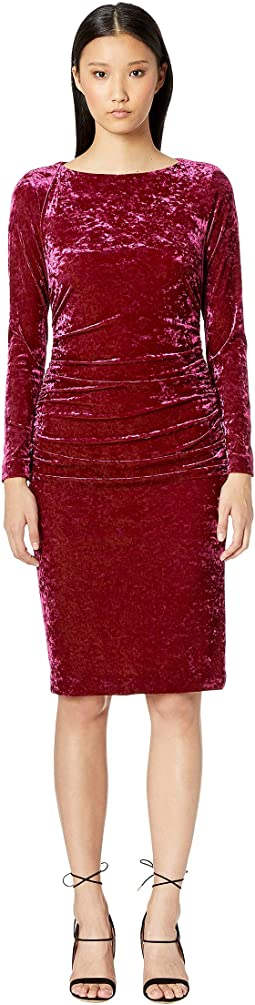 Crushed Velvet Boat Neck Ruched Dress