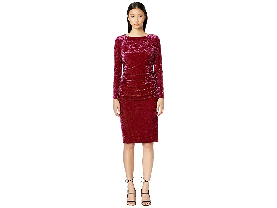 Nicole Miller Crushed Velvet Boat Neck Ruched Dress (Fuchsia) Women