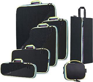 SupaSak Compression Packing Cubes, Travel Luggage Organizers (Black, 7 Piece Set)