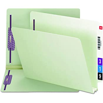 """Smead End Tab Pressboard Fastener File Folder with SafeSHIELD Fasteners, 2 Fasteners, 2"""" Expansion, Letter Size, Gray/Green, 25 per Box (34715)"""
