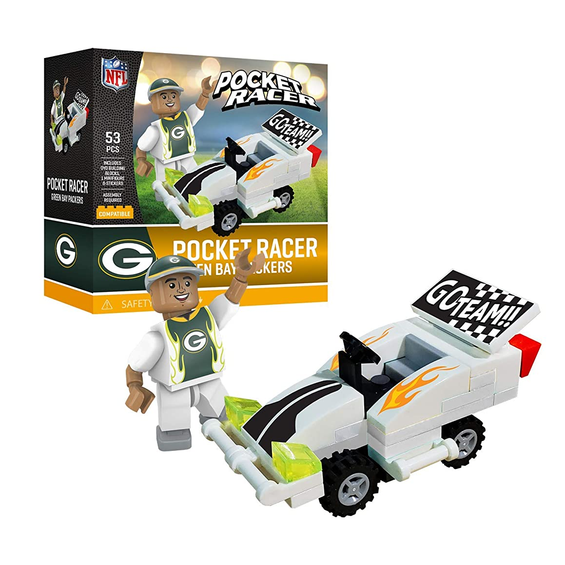 Green Bay Packers OYO Sports Toys Pocket Racer Set with Minifigure 53PCS