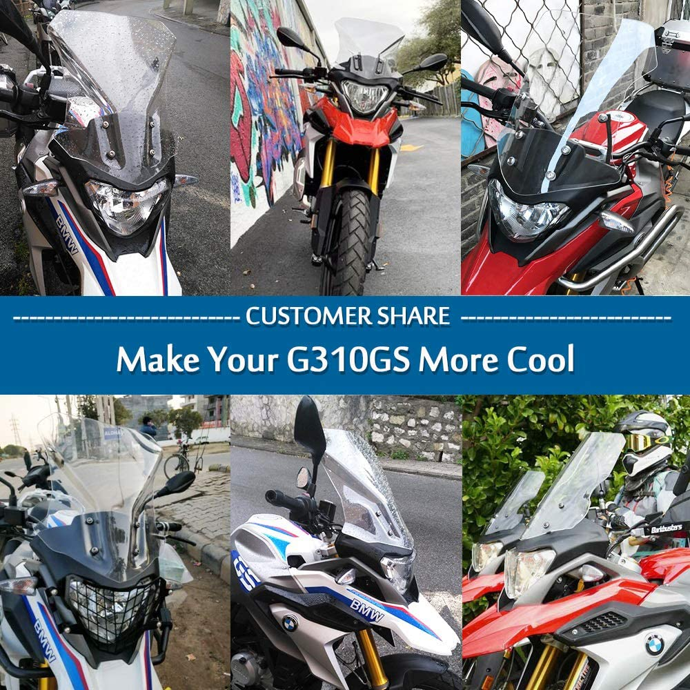 Clear G310GS Motorcycle Touring Taller Windscreen Windshield Airflow Wind Deflectors Fly Screen Protector Cover for 2017 2018 2019 2020 BM-W G310 G 310 GS Accessories 17-20