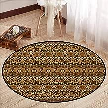 Indoor/Outdoor Round Rugs,Zambia,Wild Tropical Animal Camouflage Skin Pattern Bohemian Folk Design,Door Floor Mat for Bedroom,5'3