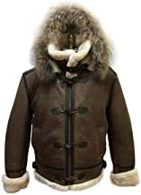 Men B-3 Genuine Shearling Leather Bomber Jacket Winter Aviator Coat Real Fur Hood and Wood Toggle Closure