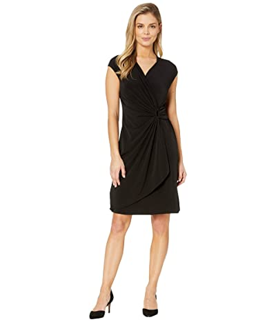 Tommy Bahama Carmela Short Sleeve Faux Wrap Dress (Black) Women