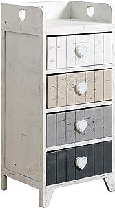 Rebecca Mobili Cómoda Blanca con Superficie Superior Cerrada por 3 Lados Rebecca Love Blanca Shabby con 4 cajones pomos de corazón de Estilo Vintage - 72 x 35 x 27,5 cm (A x AN x FON) - Art. RE4380