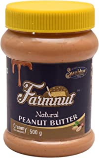 FARMNUT NATURAL PEANUT BUTTER (Creamy) -500 gm, Made with 100% Roasted Peanuts, Zero Cholesterol & Transfat, Zero Sugar, H...