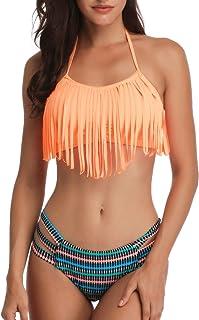 35a2759eb Heat Move Women Retro Fringe Tassel Bikini Halter Neck Two Piece Swimsuit  with Hipster Bottom