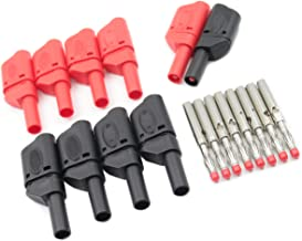 10Pcs Safety Fully Insulated Multimeter Test Leads 4mm Banana Plugs Male Stackable Connectors with Banana Jack Adapters